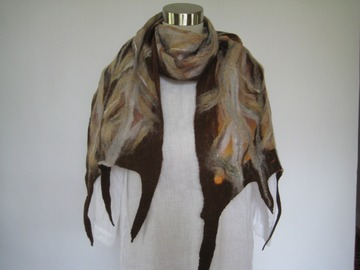 Selling with online payment: NUNO Felting scarf (Brown)