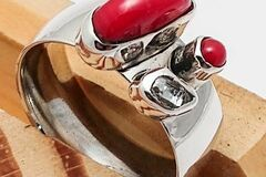 Selling with online payment: Silver Ring with Red Coral + Herkimer Diamond