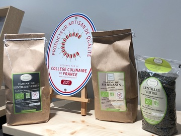 Vente avec paiement en direct: Farine de Lentilles vertes Bio-Sans Gluten (1 kg)