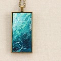 """Selling with online payment: Hand Painted Teal Necklace - """"Sea Foam"""" Bronze"""
