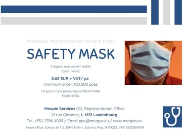Product: Safety mask - Masque de protection - Schutzmaske