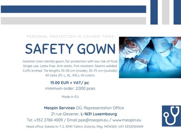 Product: Safety gown - Robe de sécurité - Sicherheitskittel