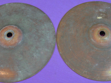 "Selling with online payment: Very Early 1910s LUDWIG & LUDWIG pair of 7"" cymbals"