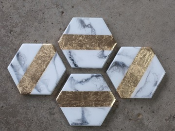 Selling: Marble & Gold - Coasters Set of 4 - Center Line