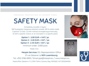 Produkt: Reusable safety mask with color - Masque réutilisable - Maske