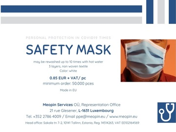 Product: Safety mask washable - Masque lavable - waschbare Maske