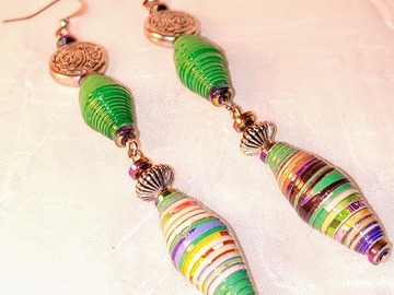 Selling with online payment: Upcycled Double Paperbead Earrings