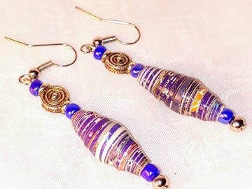 Selling with online payment: Upcycled Single Paperbead Earrings