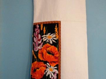 """Vente au détail: Sac à pain """"Bouquet champêtre"""", mixant canevas et tissu"""