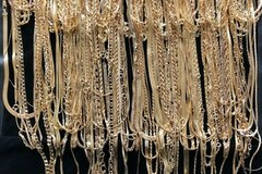 Liquidation/Wholesale Lot: 144 Piece Chain Assortment 14 KT Gold overlay-  with jewelry roll