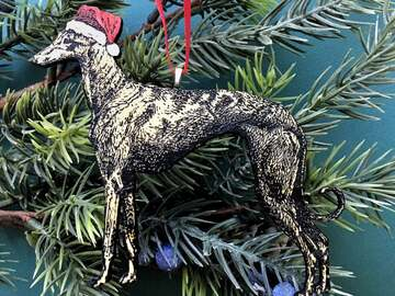 Selling with online payment: Hand Painted Greyhound Ornament - Lasercut Wood - Free Shipping