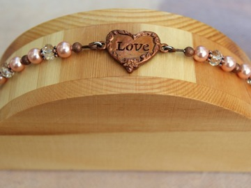Selling with online payment: Swarovski Crystal Pearl and Crystal Bracelet with Heart Shaped Lo