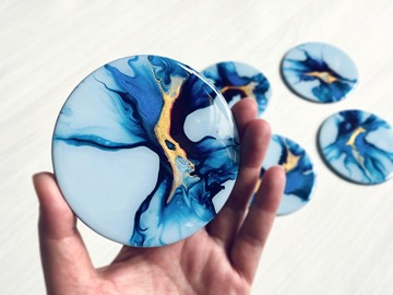 : Hand Painted  Wood Coasters