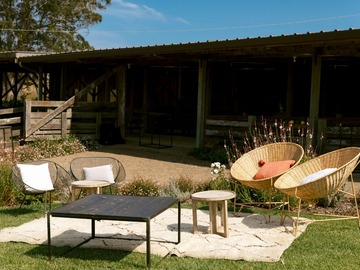 per day with calendar availability: Outdoor Coastal Retreat with Forest and Historic Barn
