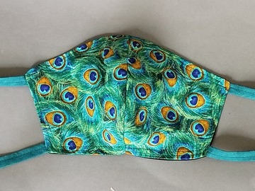 Selling with online payment: Pick your print cotton face mask, contoured shape, fabric ties