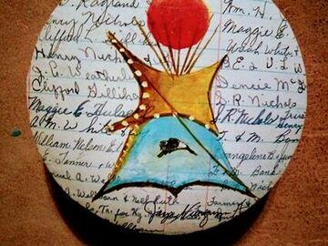 Selling: Antique Ledger Art- Indian Camp