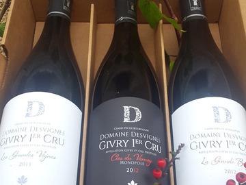 Vente avec paiement en direct: Caisse découverte,  6 bouteilles Givry   Rouge & Blanc