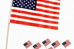 Buy Now: USA Patriotic 8″ X 12″ Polyester American Flag With Wood Stick