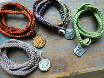 Selling with online payment: Crochet Wrap Bracelet with a charm