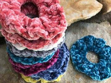 Selling with online payment: Crocheted Velvet Hair Scrunchies