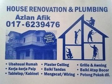 Services: plumbing dan renovation 0176239476 azlan afik setapak