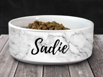 "Selling: Personalized Pet/Cat/Dog Bowl with Name - White Marble - 6"" or 7"""