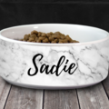 """Selling: Personalized Pet/Cat/Dog Bowl with Name - White Marble - 6"""" or 7"""""""