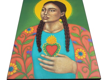 Selling with online payment: Sacred Heart Portrait - Wood Mounted Art Print of Painting