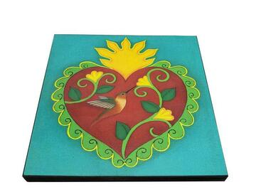 Selling with online payment: Tamara Adams Art - Hummingbird Heart Wood Mounted Art Print
