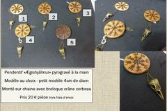 Verkaufen: Collier  Viking - Ægishjálmur pyrogravé avec crâne corbeau