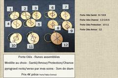 """Verkaufen: Porte Clés """"Runes"""" - Pyrogravure artisanale by La Tournerie"""