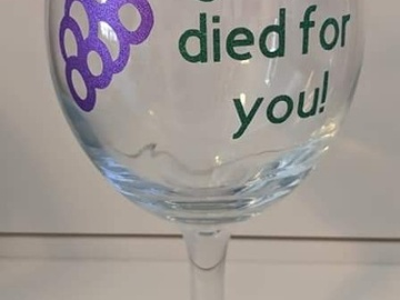 Selling with online payment: Wine Glass with Vinyl Lettering