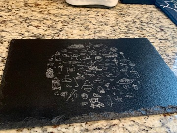 Selling with online payment: Florida Themed Laser Engraved Slate Cheese Board