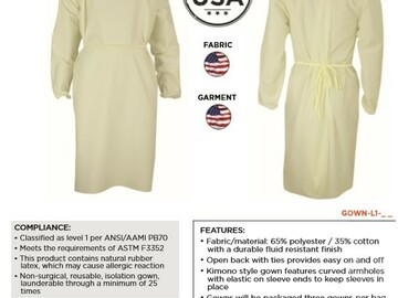 Sell your product: AAMI Level 1 Isolation Gown (Reusable)