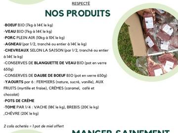 Vente avec paiement en direct: vente de viande bio boeuf et veau