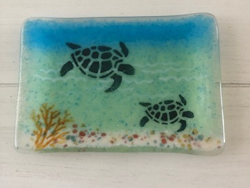 Selling with online payment: Handmade Fused Glass Turtle Soap Dish