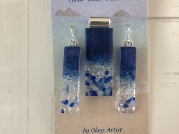 """Selling with online payment: Blue Fused Glass """"ICE Crystal"""" Matching Pendant and Earrings"""