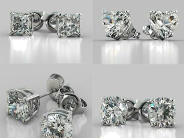 Buy Now: 100 pair CZ Stud Earrings 4 CTW- Sterling Silver Post-Asst Shapes