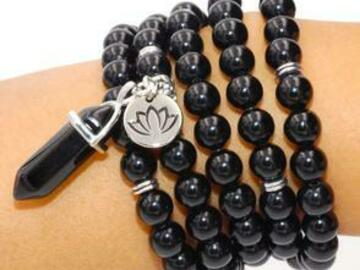 Selling with online payment: Black Onyx Spiritual Warrior Mala Necklace Bracelet