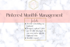 Offering online services: Pinterest Monthly Management