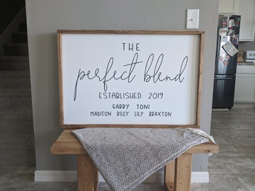 Selling with online payment:  The Perfect Blend Custom Family Sign