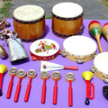 Selling with online payment: 27pc Percussion lot. bongos tambourines cowbell maracas castanets