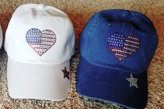 Selling with online payment: Patriotic Baseball Hat with Rhinestone Heart