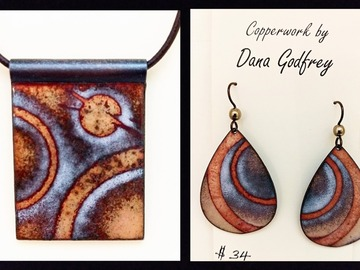 Selling with online payment: Enameled Copper Pendant and Earrings
