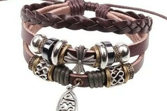 Compra Ahora: 250 BOHO Wrap Christian Leather Jesus Fish Cross Bracelet