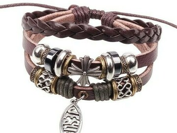 Buy Now: 50 BOHO Wrap Christian Leather Beaded Jesus Fish Cross Bracelet