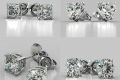 Compra Ahora: 50 pair CZ Stud Earrings 6 CTW- Sterling Silver Post- Asst styles