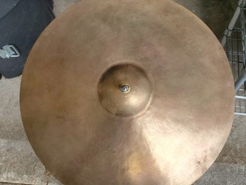 "Selling with online payment: 13.25"" vintage B20 Bronze hi hat cymbal, brand unknown"
