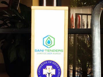 Products for Sale: Sani-Tenders custom kiosks with half gallon foaming sanitizer