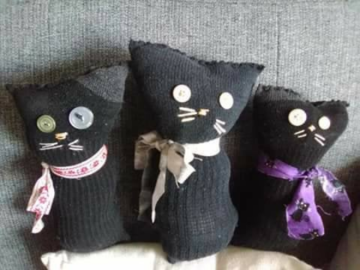 Selling with online payment: Trio of Vintage Style Cool Cat Sock Stuffie Dolls!